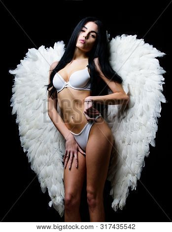 Erotic Show. Femininity And Sensuality. Angel Feather Wings Accessory. Provoke Sexual Desire. Divine