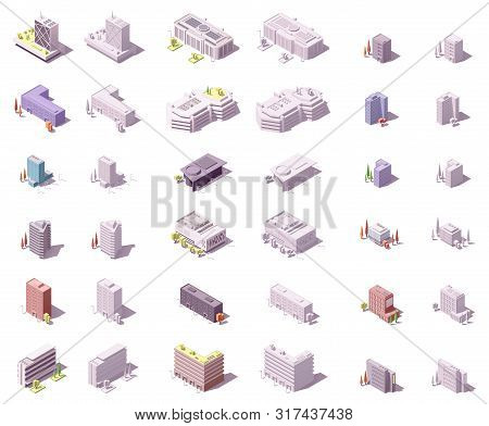 Vector Isometric Buildings Set For Isometric City Map Or Infographic. Skyscrapers, Offices, Houses,