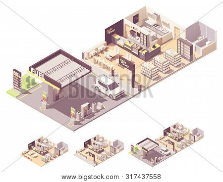 Vector Isometric Gas Filling Station Interior And Exterior. Petrol And Diesel Fuel Dispensers Or Pum