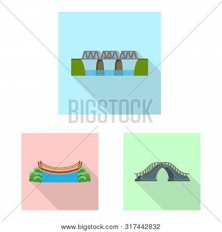 Vector Design Of Bridgework And Bridge Icon. Collection Of Bridgework And Landmark Vector Icon For S