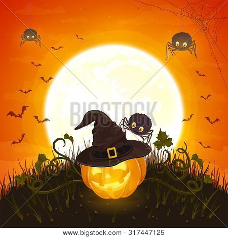 Smiling Pumpkin With Hat Of Witch And Cute Spiders On Orange Background With Moon. Halloween Theme W