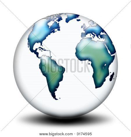 Map World Blue Green