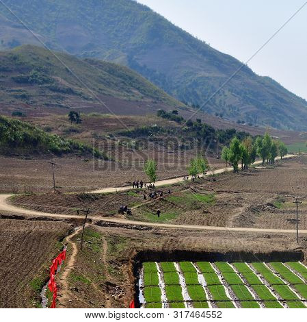 North Korea Landscape. Mountains, Country Road And Rice Field In Foreground. Peasants Gather To Work