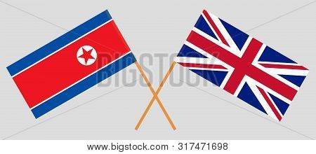 The UK and North Korea. Crossed British and Korean flags. Official colors. Correct proportion. Vector illustration poster