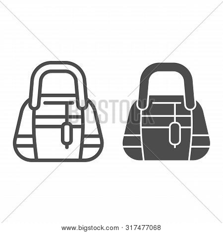 Ladys Handbag Line And Glyph Icon. Womans Purse Vector Illustration Isolated On White. Clutch Purse
