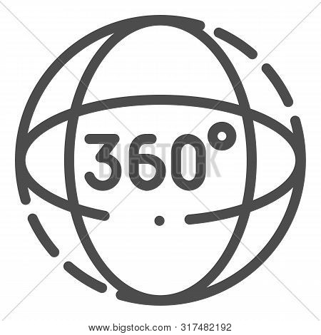 360 Degrees Rotation Line Icon. Angle 360 Degrees Vector Illustration Isolated On White. 360 Degrees