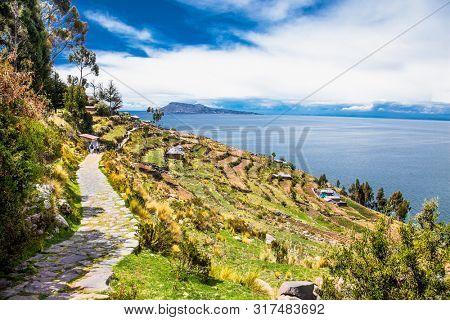 Village on Taquile island in Titicaca lake, Peru. South America.