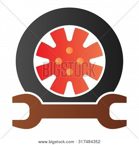 Tire Service Flat Icon. Tire Fitting Color Icons In Trendy Flat Style. Auto Wheel And Wrench Gradien