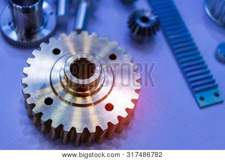 Background and pattern of metal parts of the robot. Hydro-brain transmissions and gears.