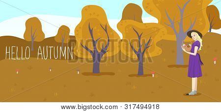 Girl Holds A Basket With Mushrooms. Forest Glade. Vector Image.