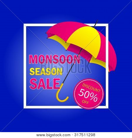 Monsoon Sale Offer Background With Ribbon And Umbrella. Monsoon Season Sale Concept For Poster, Flye