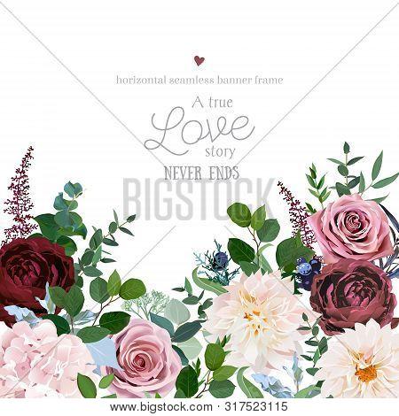 Desert Cinnamon, Brown, Dusty Pink Roses, Dahlia, Burgundy Flowers, Juniper, Eucalyptus, Greenery, A