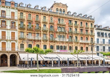 Pamplona,spain - May 18,2019 - At The Castillo Place In Pamplona. The City Pamplona Is Famous Worldw