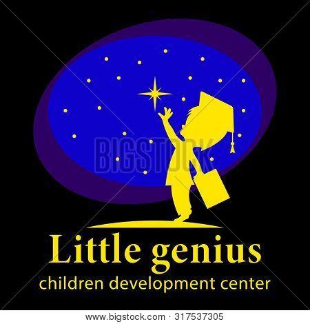 Little Genius, Children Development Center Logo. A Little Boy In A Scientists Hat, With A Book In Hi