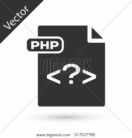 Grey Php File Document. Download Php Button Icon Isolated On White Background. Php File Symbol. Vect