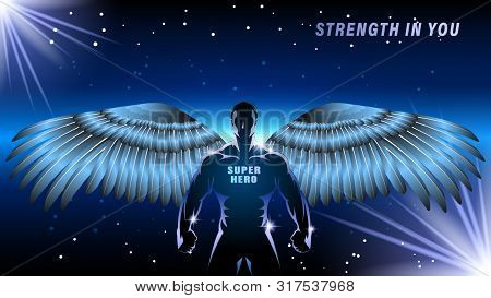 Superhero With Wings On A Dark Backgrond. Silhouette Athlete, Brawny Man, Angel On A Black Backgroun