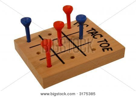 Isolated Wooden Tic-Tac-Toe Game On White Background