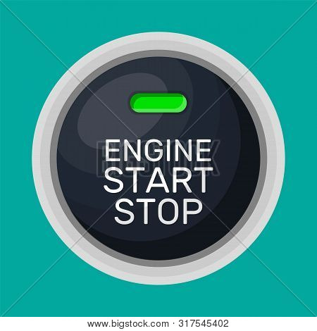 Engine Start And Stop Button With Light. Car Engine Start. Modern Starting And Stopping Switch For M