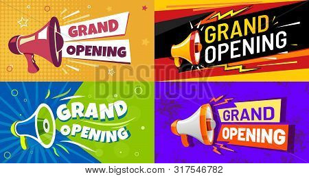 Grand Opening Banners. Invitation Card With Megaphone Speaker, Opened Event And Opening Celebration