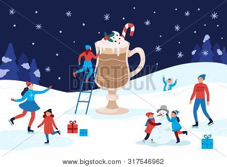 Winter Warming Cocoa Mug. Happy People Winter Activities, Celebrating Christmas And Drink Warm Drink