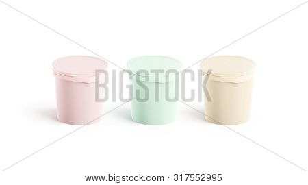 Blank Colored Ice Cream Buckets Mockup Set, Side View, 3d Rendering. Empty Plastic Pails Mock Up, Is
