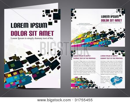 poster of Professional business catalog template or corporate 3 fold brochure design for document, publishing, print and presentation. Vector illustration in EPS 10.