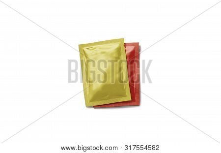 Blank Red And Yellow Sachet Packet Stack Mockup Set, 3d Rendering. Empty Sealed Seasoning Package Mo