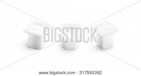 Blank White Yogurt Box Mockup Set, Different Sides, 3d Rendering. Empty Pasteurized Jughurt Containe