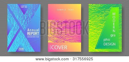 Booklet Design Vector Layouts Set. Pink Blue Green Rainbow Waves Textures. Cool Booklet Vector Cover