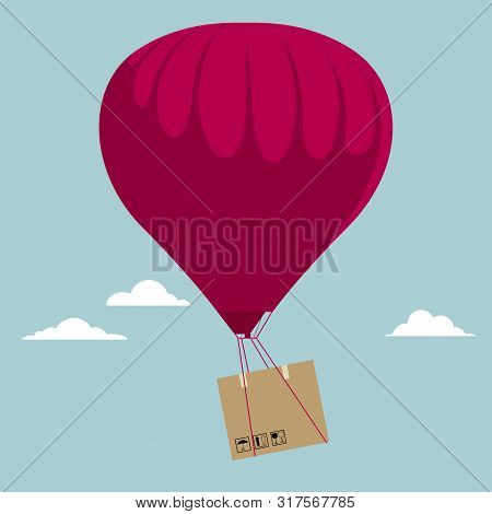Transport Cargo Using Hot Air Balloons. Isolated On Blue Background.