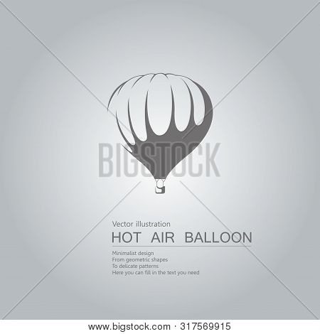 Vector Drawn Hot Air Balloon. The Background Is A Gray Gradient.