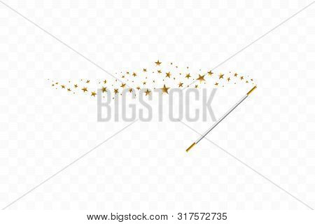 Magic Wand With A Stars On Transparent Background. Trace Of Gold Dust. Magic Abstract Background Iso