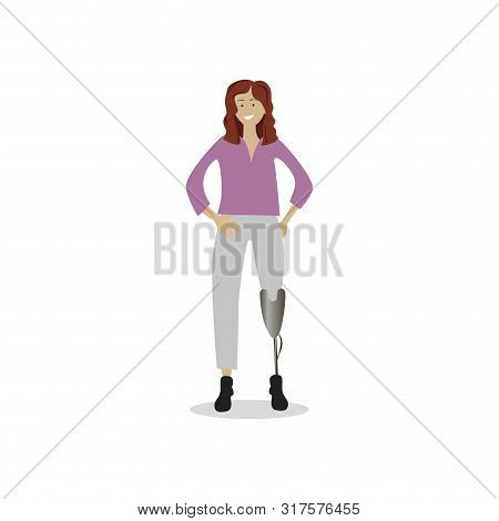 Girl With Prosthetic Leg Isolated On White. Girl Power, Vector Amputee Leg, Illustration Handicapped