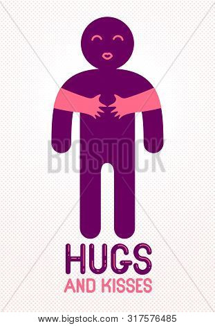 Hugs and kisses with loving hands of beloved person and kissing lips, lover woman hugging his man and shares love, vector icon logo or illustration in simplistic symbolic style. poster