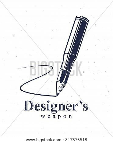 Idea Is A Weapon Concept, Weapon Of A Designer Or Artist Allegory Shown As A Firearm Cartridge Case