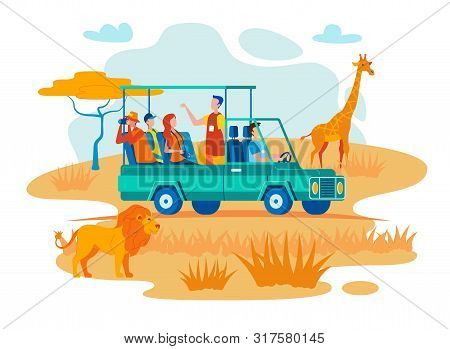 African Safari Travel Flat Vector Concept. Guide Talking With Travelers, Tourists Making Photos Of W