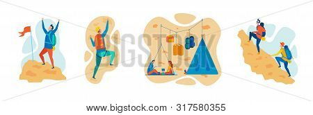 Mountaineering, Climbing And Hiking Sports Flat Vector Concepts Set Isolated On White Background. Mo