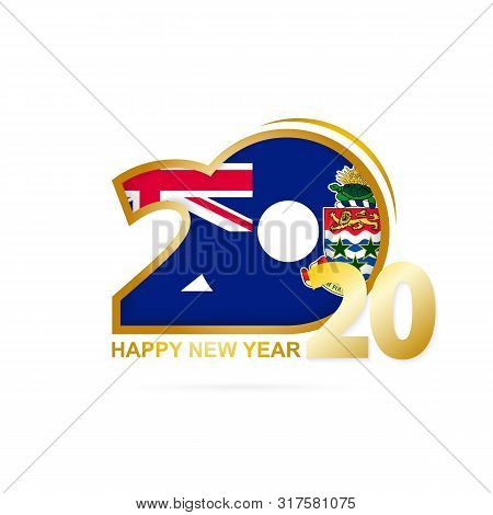 Year 2020 With Cayman Islands Flag Pattern. Happy New Year Design. Vector Illustration.