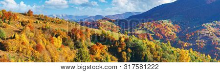 Wonderful Autumn Panorama In Mountains. Trees In Fall Colorful Foliage On The Hill. Clouds On The Bl
