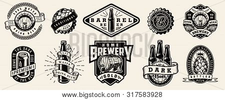 Vintage Brewing Monochrome Emblems With Beer Bottles Aluminum Can Wooden Casks Cap Hop Cones Wheat E