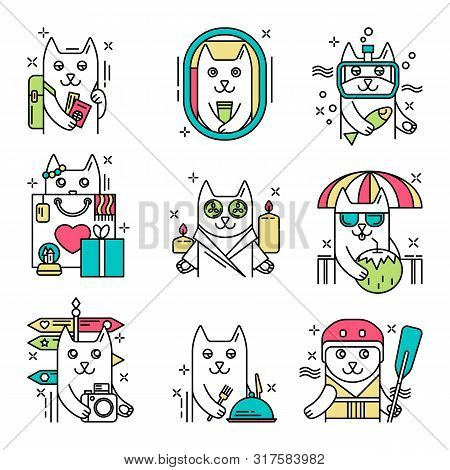 Cute Bright Line Icons With Cat Traveler Character