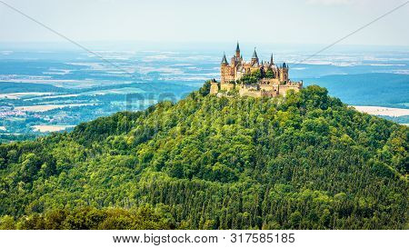 Hohenzollern Castle On Mountain Top, Germany. This Castle Is A Famous Landmark In Vicinity Of Stuttg