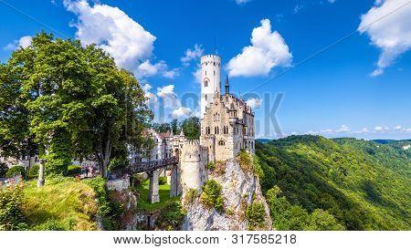 Lichtenstein Castle In Summer, Baden-wurttemberg, Germany. This Beautiful Castle Is A Landmark Of Ge