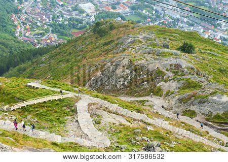 Way On Foot To The Top Of Mount Ulriken In Bergen, Norway, On August 4 2019