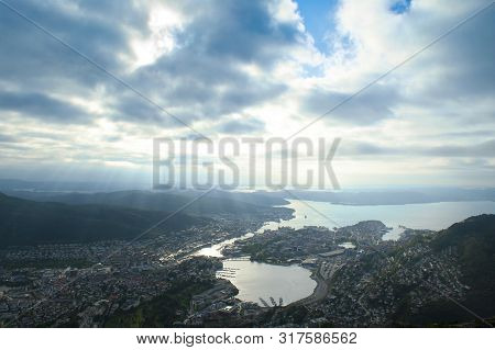 Beautiful Landscape Seen From The Top Of Mount Ulriken In Bergen, Norway On August 4 2019