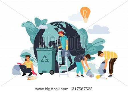 Recycling Concept. Cartoon Flat Characters Protect Environment, Sorting Plastic Waste And Disposal P