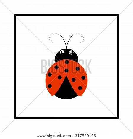 Ladybird Isolated. Illustration Ladybug In Frame. Cute Colorful Sign Red Insect Symbol Spring, Summe