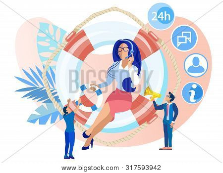 Vector Illustration 24 On 7 Trust Help Cartoon Flat. Female Call Center Operator Sits On Life Preser