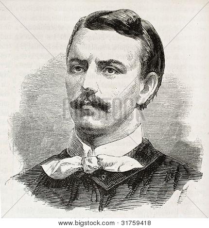 Zygmunt Padlewski old engraved portrait (Polish insurgent).  Created by Chenu, published on L'Illustration, Journal Universel, Paris, 1863