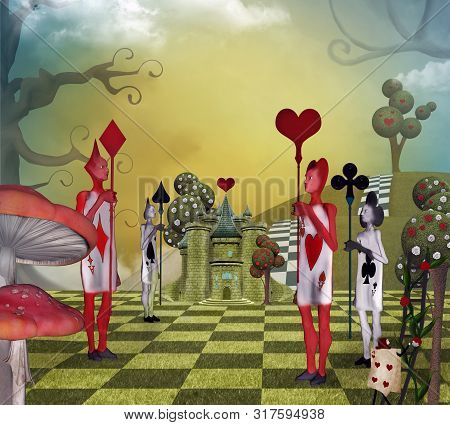 Landscape Inspired By Alice In Wonderland With The Card Guards Of The Queen Of Hearts - 3d Illustrat